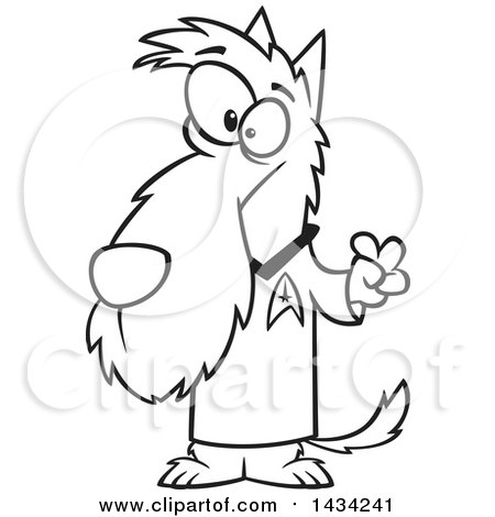 Clipart of a Cartoon Black and White Lineart Scottie Dog in a Star Trek Shirt - Royalty Free Vector Illustration by toonaday