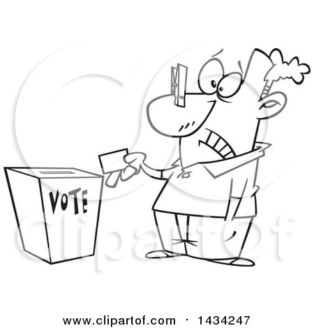 Clipart of a Cartoon Black and White Lineart Man with a Clip on His Nose, Casting His Vote - Royalty Free Vector Illustration by toonaday