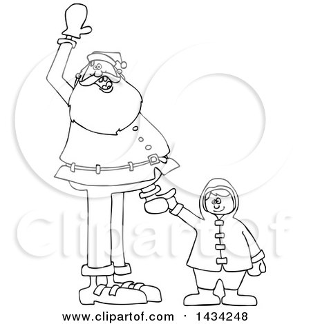 Clipart of a Cartoon Black and White Lineart Christmas Santa Claus Holding a Boy's Hand and Waving - Royalty Free Vector Illustration by djart
