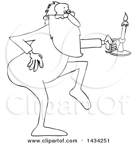Clipart of a Cartoon Black and White Lineart Christmas Santa Claus Tip Toeing in His Pajamas, Holding a Candlestick - Royalty Free Vector Illustration by djart