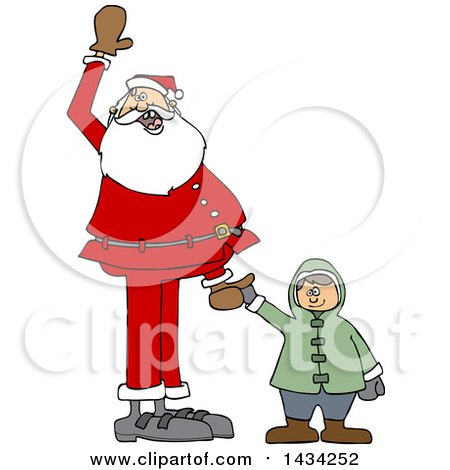 Clipart of a Cartoon Christmas Santa Claus Holding a White Boy's Hand and Waving - Royalty Free Vector Illustration by djart