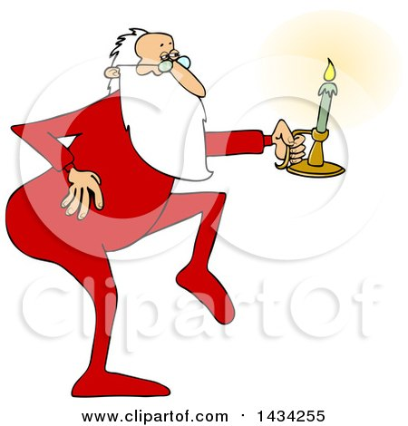 Clipart of a Cartoon Christmas Santa Claus Tip Toeing in His Pajamas, Holding a Candlestick - Royalty Free Vector Illustration by djart