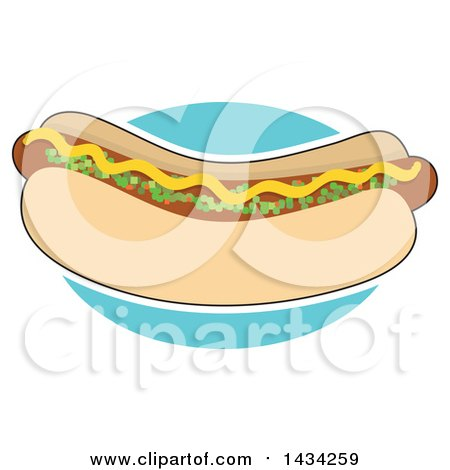 Clipart of a Cartoon Hot Dog in a Bun, Topped with Mustard and Relish, Outlined in White Over a Blue Circle - Royalty Free Vector Illustration by Maria Bell