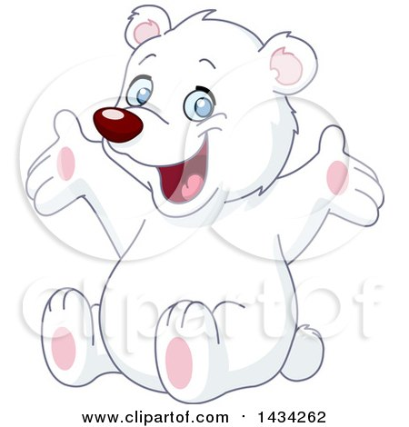 Clipart of a Cute Happy White Teddy Bear Sitting and Cheering - Royalty Free Vector Illustration by yayayoyo