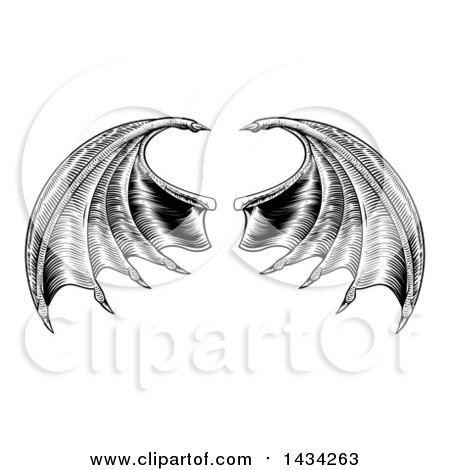 Clipart of a Black and White Woodcut or Engraved Pair of Bat or Dragon Wings - Royalty Free Vector Illustration by AtStockIllustration