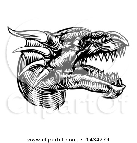 Clipart of a Black and White Woodcut Dragon Head in Profile - Royalty Free Vector Illustration by AtStockIllustration