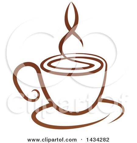Clipart of a Brown Steamy Coffee Cup on a Saucer - Royalty Free Vector Illustration by AtStockIllustration
