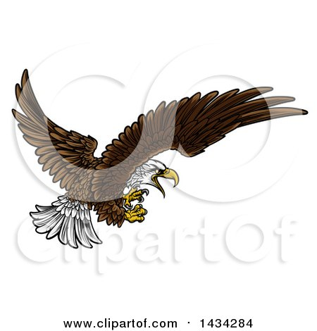 Clipart of a Swooping Bald Eagle with Talons Extended - Royalty Free Vector Illustration by AtStockIllustration