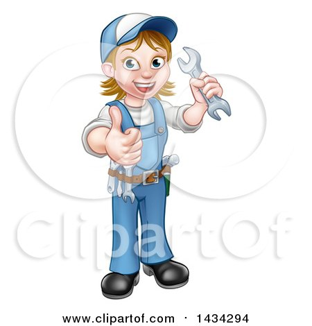 Clipart of a Cartoon Full Length Happy White Female Mechanic Wearing a Hard Hat, Holding a Spanner Wrench and Giving a Thumb up - Royalty Free Vector Illustration by AtStockIllustration
