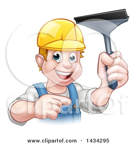 Clipart of a Cartoon Happy White Male Window Cleaner Wearing a Hard Hat, Pointing and Holding a Squeegee - Royalty Free Vector Illustration by AtStockIllustration