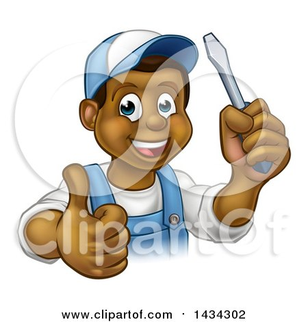 Clipart of a Cartoon Happy Black Male Electrician Holding a Screwdriver and Giving a Thumb up - Royalty Free Vector Illustration by AtStockIllustration