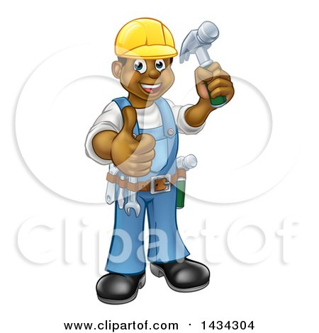 Clipart of a Cartoon Full Length Happy Black Male Carpenter Holding a Hammer and Giving a Thumb up - Royalty Free Vector Illustration by AtStockIllustration