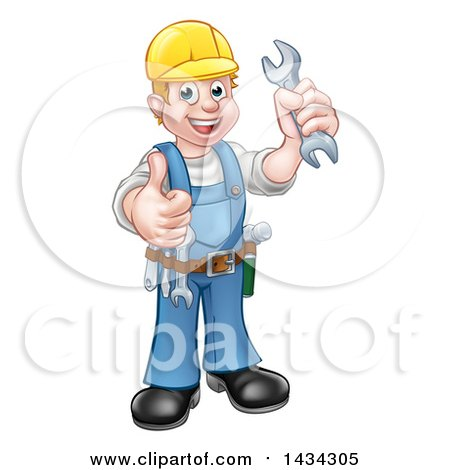 Clipart of a Cartoon Full Length Happy White Male Mechanic Wearing a Hard Hat, Holding a Spanner Wrench and Giving a Thumb up - Royalty Free Vector Illustration by AtStockIllustration