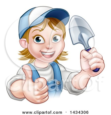 Clipart of a Cartoon Happy White Female Gardener in Blue, Holding a Garden Trowel and Giving a Thumb up - Royalty Free Vector Illustration by AtStockIllustration
