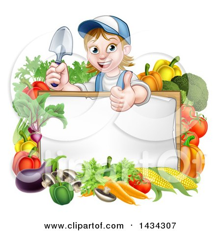 Clipart of a Cartoon Happy White Female Gardener in Blue, Holding a Garden Trowel and Giving a Thumb up over a White Sign with Produce - Royalty Free Vector Illustration by AtStockIllustration