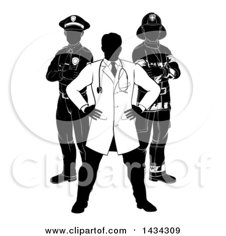 Clipart of a Faceless Black and White Male Doctor, Police Man and Fire Fighter - Royalty Free Vector Illustration by AtStockIllustration