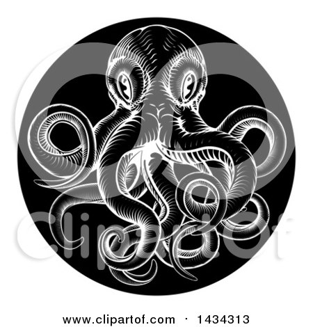 Clipart of a Black and White Woodcut Vintage Octopus in a Black Circle - Royalty Free Vector Illustration by AtStockIllustration