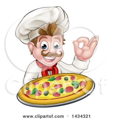 Clipart of a Cartoon Happy White Male Chef Gesturing Perfect and Holding up a Pizza - Royalty Free Vector Illustration by AtStockIllustration