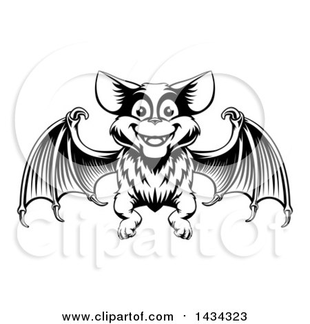 Clipart of a Black Adn White Woodcut Flying Bat - Royalty Free Vector Illustration by AtStockIllustration