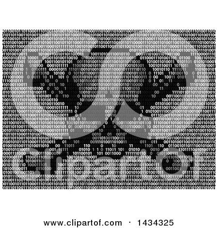 Clipart of a Skull and Crossbones in Binary Code - Royalty Free Vector Illustration by AtStockIllustration