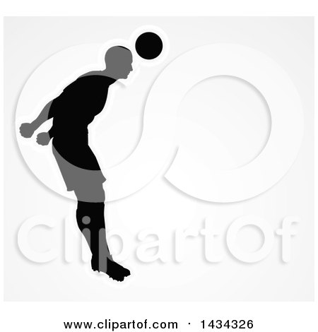 Clipart of a Black Silhouetted Male Soccer Player Heading a Ball, Outlined in White, over Gray - Royalty Free Vector Illustration by AtStockIllustration