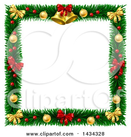 Clipart Of A Christmas Wreath Border Frame With Bells Bows And Baubles Royalty Free Vector Illustration