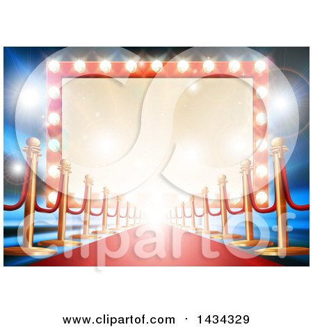 Clipart of a Re Carpet and Posts Leading to a Retro Marquee Theater Sign with Light Bulbs - Royalty Free Vector Illustration by AtStockIllustration