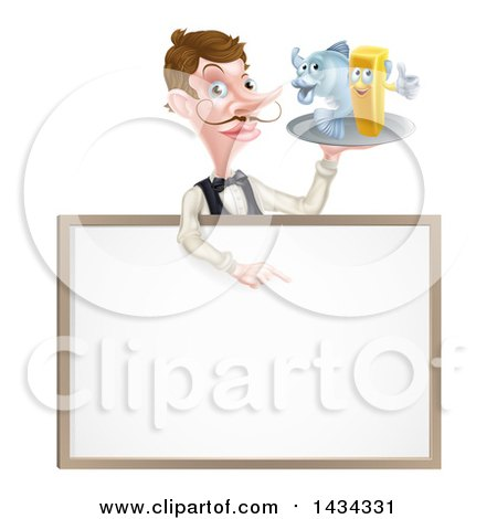 Clipart of a White Male Waiter with a Curling Mustache, Holding Fish and a Chips on a Tray and Pointing down over a Menu - Royalty Free Vector Illustration by AtStockIllustration