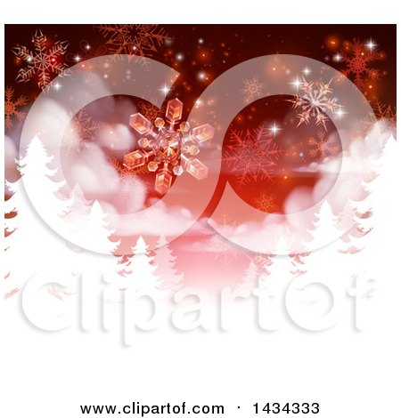 Clipart of a Red Christmas Background with Falling Snowflakes over White Silhouetted Evergreen Trees - Royalty Free Vector Illustration by AtStockIllustration