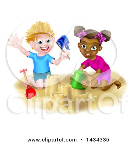 Clipart of a Happy White Boy and Black Girl Making Sand Castles on a Beach - Royalty Free Vector Illustration by AtStockIllustration