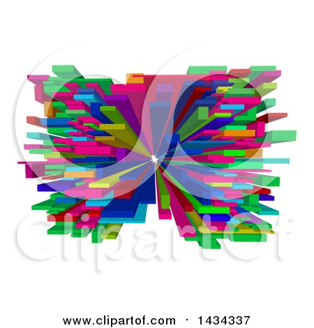 Clipart of a Colorful Abstract 3d Blocks Design - Royalty Free Vector Illustration by AtStockIllustration