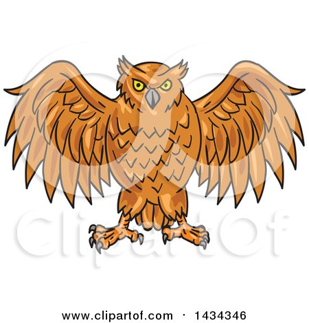 Clipart of a Sketched Angry Owl with His Wings Open - Royalty Free Vector Illustration by patrimonio