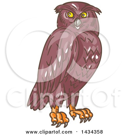 Clipart of a Sketched Owl Looking to the Side - Royalty Free Vector Illustration by patrimonio