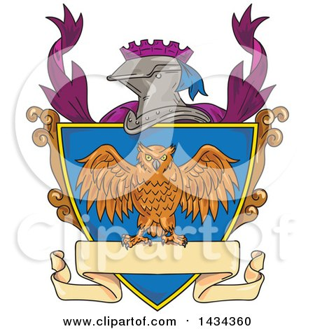 Clipart of a Sketched Owl on a Crest Shield with a Knight Helmet and Banner - Royalty Free Vector Illustration by patrimonio