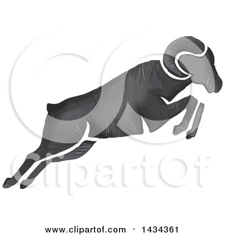 Clipart of a Watercolor Ram Leaping - Royalty Free Vector Illustration by patrimonio
