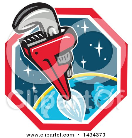 Clipart of a Pipe Monkey Wrench Rocket in Flight over Earth - Royalty Free Vector Illustration by patrimonio