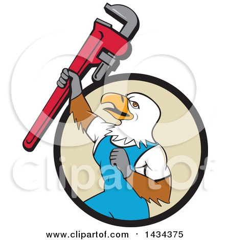 Clipart of a Cartoon Bald Eagle Plumber Man Holding up a Pipe Monkey Wrench, Emerging from a Black and Tan Circle - Royalty Free Vector Illustration by patrimonio