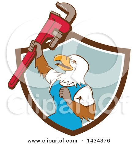 Clipart of a Cartoon Bald Eagle Plumber Man Holding up a Pipe Monkey Wrench, Emerging from a Shield - Royalty Free Vector Illustration by patrimonio