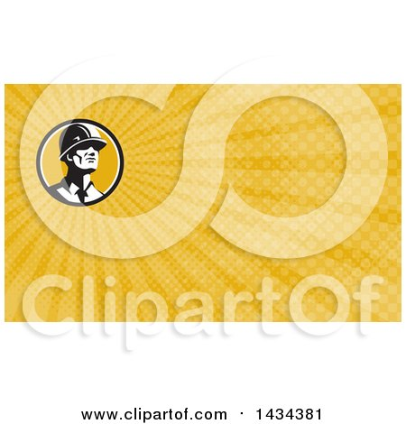 Clipart of a Retro Male Builder Wearing a Hardhat and Looking Forward and Yellow Rays Background or Business Card Design - Royalty Free Illustration by patrimonio