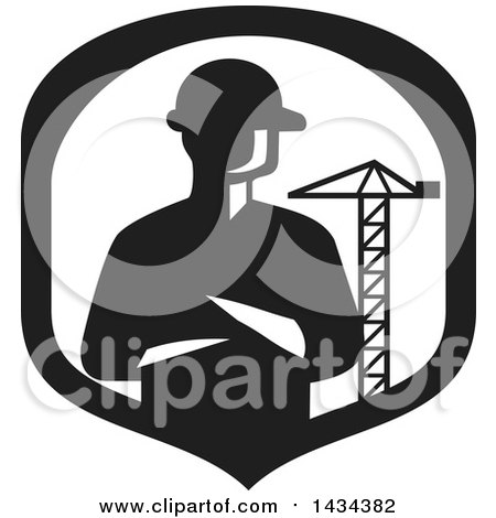Clipart of a Retro Silhouetted Builder Engineer or Foreman with Folded Arms in a a Shield with a Construction Crane - Royalty Free Vector Illustration by patrimonio