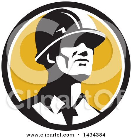 Clipart of a Retro Male Foreman or Builder Wearing a Hardhat and Looking Forward in a Black White and Yellow Circle - Royalty Free Vector Illustration by patrimonio