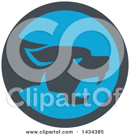Clipart of a Retro Black Panther Big Cat Growling in a Gray and Blue Circle - Royalty Free Vector Illustration by patrimonio