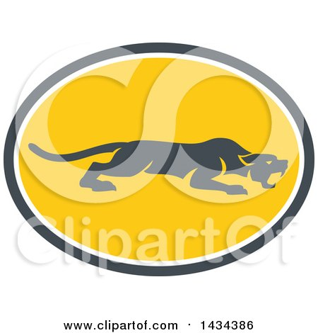 Clipart of a Retro Black Panther Big Cat Stalking in a Gray White and Yellow Oval - Royalty Free Vector Illustration by patrimonio