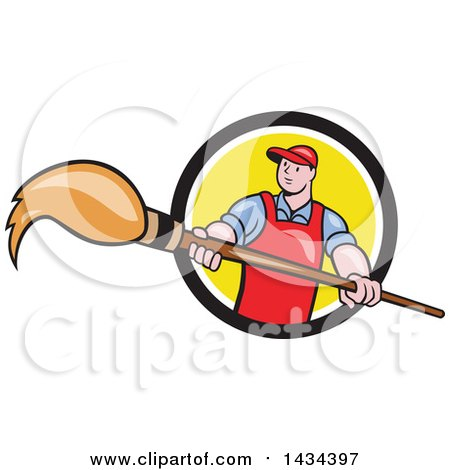 Clipart of a Retro Cartoon White Male Artist Holding a Giant Paintbrush in a Black, White and Yellow Circle - Royalty Free Vector Illustration by patrimonio