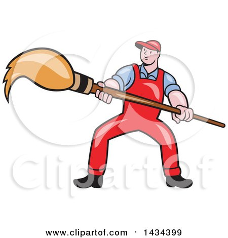 Clipart of a Retro Cartoon White Male Artist Holding a Giant Paintbrush - Royalty Free Vector Illustration by patrimonio