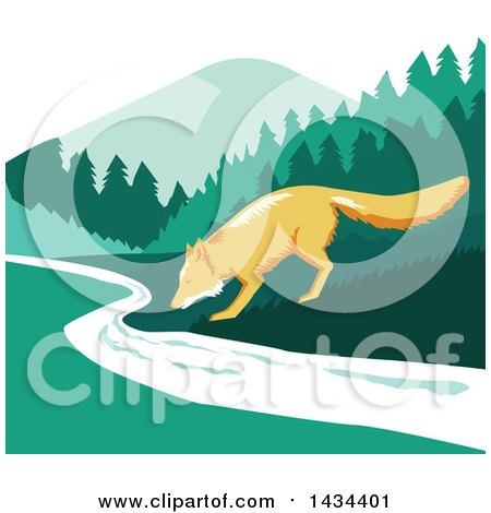 Clipart of a Retro Sketched Fox Drinking from a Creek - Royalty Free Vector Illustration by patrimonio