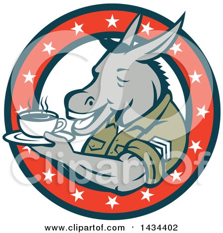 Clipart of a Retro Cartoon Army Sergeant Donkey Holding a Cup of Coffee on a Saucer in a Circle of Stars - Royalty Free Vector Illustration by patrimonio