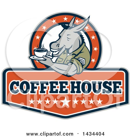 Clipart of a Retro Cartoon Army Sergeant Donkey Holding a Cup of Coffee on a Saucer in a Circle of Stars over Text - Royalty Free Vector Illustration by patrimonio