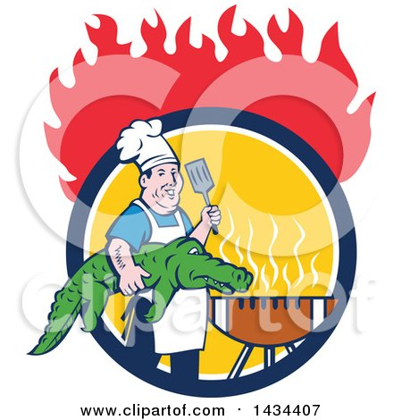 Clipart of a Retro Cartoon Male Chef Carrying an Alligator and Spatula to a Football Grill in a Circle Under Flames - Royalty Free Vector Illustration by patrimonio