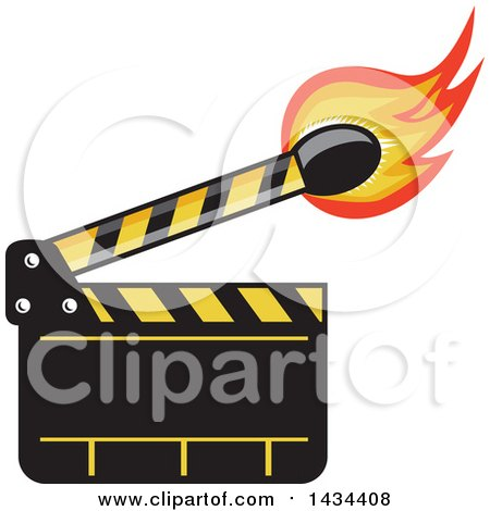 Clipart of a Retro Clapper Board with a Lit Match Stick - Royalty Free Vector Illustration by patrimonio